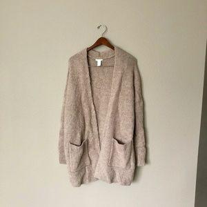 Wool Oatmeal Longline Cardigan